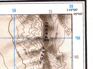 Reduced fragment of topographic map en--usgs--250k--074973--(1948)--N036-00_W118-00--N035-00_W116-00 in area of Searles Lake (dry), Coyote Lake (dry), Harper Lake (dry); towns and cities Ridgecrest, California City, North Edwards, Boron, Searles Valley