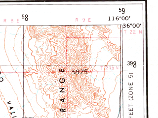 Reduced fragment of topographic map en--usgs--250k--074973--(1957)--N036-00_W118-00--N035-00_W116-00 in area of Searles Lake (dry), Coyote Lake (dry), Harper Lake (dry); towns and cities Ridgecrest, California City, Boron, Searles Valley, North Edwards