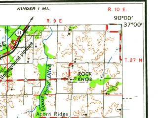 Reduced fragment of topographic map en--usgs--250k--074976--(1960)--N037-00_W092-00--N036-00_W090-00; towns and cities Paragould, Poplar Bluff, Kennett, West Plains, Pocahontas