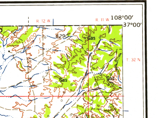 Reduced fragment of topographic map en--usgs--250k--074977--(1958)--N037-00_W110-00--N036-00_W108-00 in area of Chaco, Morgan Lake, Many Farms Lake; towns and cities Farmington, Shiprock, Chinle, Many Farms, Teec Nos Pos