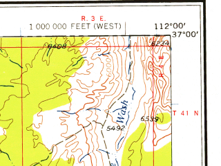 Reduced fragment of topographic map en--usgs--250k--074979--(1958)--N037-00_W114-00--N036-00_W112-00; towns and cities Supai, Colorado City, Fredonia