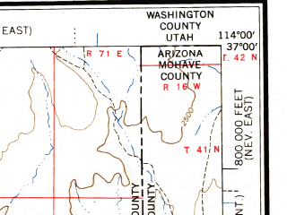 Reduced fragment of topographic map en--usgs--250k--074980--(1957)--N037-00_W116-00--N036-00_W114-00 in area of Muddy; towns and cities Las Vegas, Paradise, Henderson, Spring Valley, Sunrise Manor