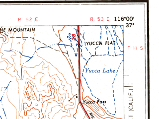Reduced fragment of topographic map en--usgs--250k--074981--(1961)--N037-00_W118-00--N036-00_W116-00 in area of Haiwee Reservoir; towns and cities Pahrump, Beatty