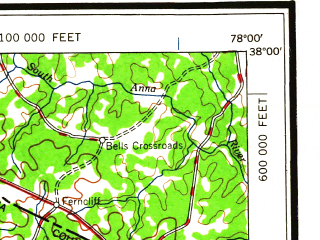 Reduced fragment of topographic map en--usgs--250k--074983--(1959)--N038-00_W080-00--N037-00_W078-00 in area of Smith Mountain Lake, James, Roanoke; towns and cities Roanoke, Lynchburg, Timberlake, Hollins, Madison Heights