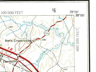 Reduced fragment of topographic map en--usgs--250k--074983--(1971)--N038-00_W080-00--N037-00_W078-00 in area of Smith Mountain Lake, James, Roanoke; towns and cities Roanoke, Lynchburg, Hollins, Madison Heights, Timberlake