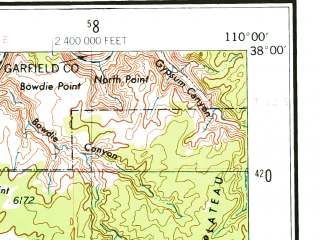 Reduced fragment of topographic map en--usgs--250k--074985--(1956)--N038-00_W112-00--N037-00_W110-00; towns and cities Boulder Town, Escalante, Glen Canyon City