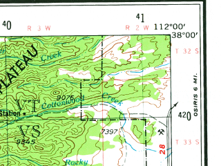 Reduced fragment of topographic map en--usgs--250k--074986--(1953)--N038-00_W114-00--N037-00_W112-00 in area of Virgin, West Fk. Asay; towns and cities St. George, Cedar City, Hatch, New Harmony, Hildale