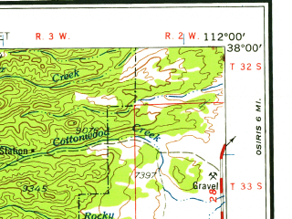 Reduced fragment of topographic map en--usgs--250k--074986--(1958)--N038-00_W114-00--N037-00_W112-00 in area of Virgin, West Fk. Asay; towns and cities St. George, Cedar City, Toquerville, Kanab, Parowan