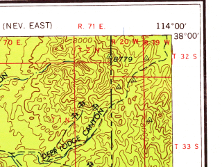 Reduced fragment of topographic map en--usgs--250k--074987--(1959)--N038-00_W116-00--N037-00_W114-00; towns and cities Caliente