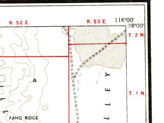 Reduced fragment of topographic map en--usgs--250k--074988--(1955)--N038-00_W118-00--N037-00_W116-00