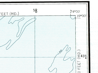 Reduced fragment of topographic map en--usgs--250k--074990--(1946)--N039-00_W076-00--N038-00_W074-00 in area of Nanticoke; towns and cities Salisbury, Seaford, Milford, Delmar, Denton