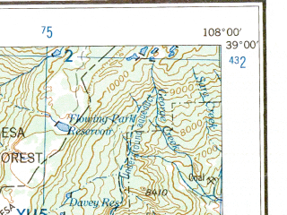 Reduced fragment of topographic map en--usgs--250k--074991--(1959)--N039-00_W110-00--N038-00_W108-00 in area of Colorado, Colorado; towns and cities Nucla, Castle Valley, Delta