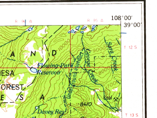 Reduced fragment of topographic map en--usgs--250k--074991--(1962)--N039-00_W110-00--N038-00_W108-00 in area of Colorado, Colorado; towns and cities Moab, Naturita, Norwood