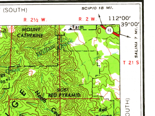 Reduced fragment of topographic map en--usgs--250k--074993--(1958)--N039-00_W114-00--N038-00_W112-00 in area of Piute Reservoir; towns and cities Richfield, Meadow, Milford, Minersville