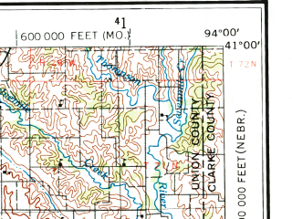 Reduced fragment of topographic map en--usgs--250k--075003--(1955)--N041-00_W096-00--N040-00_W094-00; towns and cities Maryville, Shenandoah, Nebraska City, Clarinda, Stanton