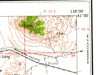 Reduced fragment of topographic map en--usgs--250k--075006--(1959)--N041-00_W120-00--N040-00_W118-00 in area of Rye Patch Reservoir; towns and cities Lovelock