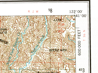 Reduced fragment of topographic map en--usgs--250k--075008--(1958)--N041-00_W124-00--N040-00_W122-00 in area of S. Fk. Trinity, Shasta Lake, Whiskeytown Lake; towns and cities Redding, Red Bluff, Anderson, Cottonwood, Redway