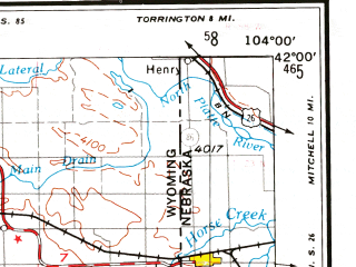 Reduced fragment of topographic map en--usgs--250k--075009--(1954)--N042-00_W106-00--N041-00_W104-00 in area of Wheatland Reservoir No 2, Wheatland Reservoir No 3, Lake Hattie Reservoir; towns and cities Cheyenne, Laramie, Yoder, Burns, Henry