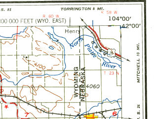 Reduced fragment of topographic map en--usgs--250k--075009--(1958)--N042-00_W106-00--N041-00_W104-00 in area of Wheatland Reservoir No 2, Wheatland Reservoir No 3, Lake Hattie Reservoir; towns and cities Cheyenne, Laramie, Pine Bluffs, Yoder, Burns