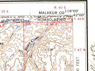 Reduced fragment of topographic map en--usgs--250k--075010--(1958)--N042-00_W120-00--N041-00_W118-00 in area of Kings, Duck Lake, Crooks Lake