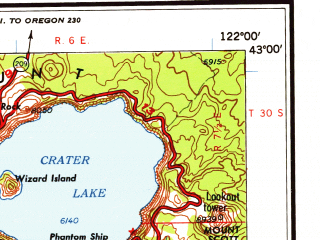 Reduced fragment of topographic map en--usgs--250k--075014--(1958)--N043-00_W124-00--N042-00_W122-00 in area of Cow Creek, Crater Lake, Howard Prairie Lake; towns and cities Medford, Grants Pass, Ashland, Central Point, White City