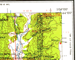 Reduced fragment of topographic map en--usgs--250k--075016--(1958)--N044-00_W106-00--N043-00_W104-00 in area of Stockade Beaver Creek; towns and cities Wright, Newcastle
