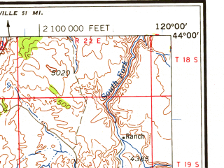 Reduced fragment of topographic map en--usgs--250k--075017--(1958)--N044-00_W122-00--N043-00_W120-00 in area of Little Deschutes, Wickiup Reservoir, Silver Lake; towns and cities Three Rivers, Deschutes River Woods
