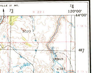 Reduced fragment of topographic map en--usgs--250k--075017--(1970)--N044-00_W122-00--N043-00_W120-00 in area of Little Deschutes, Wickiup Reservoir, Silver Lake; towns and cities Deschutes River Woods, Three Rivers