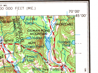 Reduced fragment of topographic map en--usgs--250k--075018--(1969)--N045-00_W072-00--N044-00_W070-00 in area of Umbagog Lake, Richardson Lakes, Rangley Lake; towns and cities Lewiston, Auburn, Berlin, Rumford, Wilton