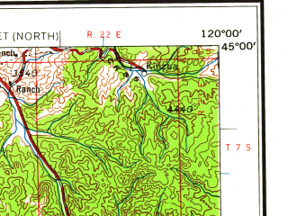 Reduced fragment of topographic map en--usgs--250k--075019--(1958)--N045-00_W122-00--N044-00_W120-00 in area of Crooked, Lake Billy Chinock, Prineville Reservoir; towns and cities Bend, Prineville, Redmond, Mitchell, Antelope