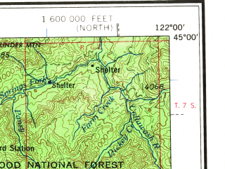 Reduced fragment of topographic map en--usgs--250k--075020--(1960)--N045-00_W124-11--N044-00_W122-00 in area of Willamette, Santium, Middle Santiam; towns and cities Eugene, Salem, Corvallis, Springfield, Albany