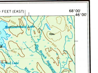 Reduced fragment of topographic map en--usgs--250k--075021--(1954)--N046-00_W070-00--N045-00_W068-00 in area of Moosehead Lake, Pemadumcook Lake, Millinocket Lake; towns and cities Millinocket, Dover-foxcroft, East Millinocket, Milo