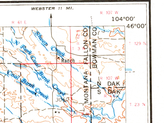 Reduced fragment of topographic map en--usgs--250k--075023--(1965)--N046-00_W106-00--N045-00_W104-00; towns and cities Ekalaka, Broadus