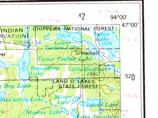 Reduced fragment of topographic map en--usgs--250k--075028--(1953)--N047-00_W096-00--N046-00_W094-00 in area of Otter Tail Lake, Gull Lake, Whitefish Lakes; towns and cities Brainerd, Detroit Lakes, Jenkins, Riverton, Baxter
