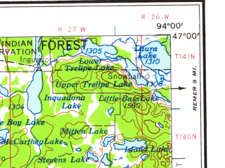 Reduced fragment of topographic map en--usgs--250k--075028--(1958)--N047-00_W096-00--N046-00_W094-00 in area of Otter Tail Lake, Gull Lake, Whitefish Lakes; towns and cities Brainerd, Detroit Lakes, Trommald, Breezy Point, Longville