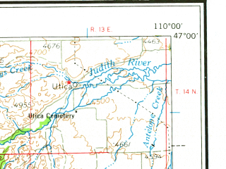 Reduced fragment of topographic map en--usgs--250k--075029--(1965)--N047-00_W112-00--N046-00_W110-00 in area of Canyon Ferry Lake, Lebo Lake, Martinsdale Reservoir; towns and cities East Helena, Helena Valley Northeast, Townsend
