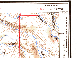 Reduced fragment of topographic map en--usgs--250k--075031--(1953)--N047-00_W124-00--N046-00_W122-00 in area of Chehalis, Cowlitz, Riffe Lake; towns and cities Longview, Aberdeen, Centralia, Kelso, Hoquiam
