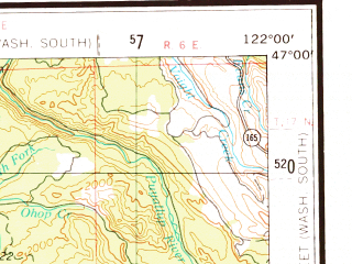 Reduced fragment of topographic map en--usgs--250k--075031--(1958)--N047-00_W124-00--N046-00_W122-00 in area of Chehalis, Cowlitz, Riffe Lake; towns and cities Longview, Aberdeen, Centralia, Kelso, Hoquiam