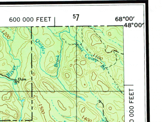 Reduced fragment of topographic map en--usgs--250k--075032--(1962)--N048-00_W070-00--N047-00_W068-00 in area of Lac Temiscouata, Square Lake, Long Lake; towns and cities Riviere Du Loup, Edmundston, St Eleuthere, Pelletier, Saint-eusebe