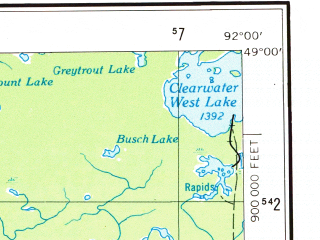 Reduced fragment of topographic map en--usgs--250k--075036--(1954)--N049-00_W094-00--N048-00_W092-00 in area of Rainy Lake, Namakan Lake, Kabetogama Lake; towns and cities Fort Francis, International Falls, Island View, Littlefork, Big Falls