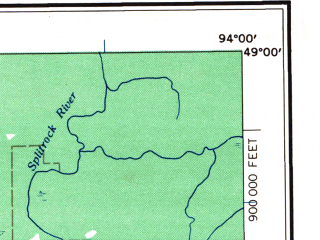 Reduced fragment of topographic map en--usgs--250k--075037--(1958)--N049-00_W096-00--N048-00_W094-00 in area of Upper Red Lake, S. Br. Rapid, N. Br. Rapid; towns and cities Grygla, Warroad, Baudette