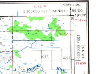 Reduced fragment of topographic map en--usgs--250k--075038--(1967)--N049-00_W098-00--N048-00_W096-00 in area of Pool No. 2, Pool No. 3, Pool No. 1; towns and cities Thief River Falls, Strandquist, Holt, Argyle