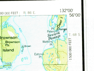 Reduced fragment of topographic map en--usgs--250k--075044--(1957)--N056-00_W134-40--N055-00_W132-00 in area of Salmon Lake, Lake Mary; towns and cities Hydaburg, Kasaan, Klawock