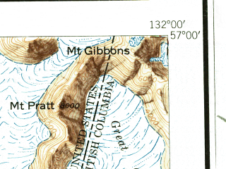 Reduced fragment of topographic map en--usgs--250k--075045--(1952)--N057-00_W134-00--N056-00_W132-00 in area of Neck Lake, Salmon Bay Lake, Red Lake; towns and cities Labouchere Bay, Petersburg, Point Baker
