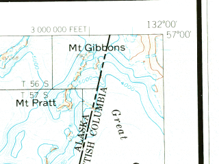 Reduced fragment of topographic map en--usgs--250k--075045--(1960)--N057-00_W134-00--N056-00_W132-00 in area of Neck Lake, Salmon Bay Lake, Red Lake; towns and cities Point Baker, Port Protection, St. John Harbor