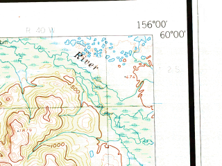 Reduced fragment of topographic map en--usgs--250k--075055--(1954)--N060-00_W159-00--N059-00_W156-00 in area of Lake Beverley, Tikchik Lake, Bay; towns and cities New Stuyahok, Dillingham, Ekwok