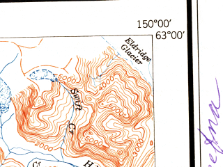 Reduced fragment of topographic map en--usgs--250k--075057--(1951)--N063-00_W153-00--N062-00_W150-00 in area of Chelatna Lake, Kahiltna, Chulitna; towns and cities Talkeetna, Trapper Creek, Chase