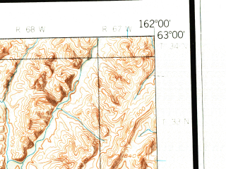 Reduced fragment of topographic map en--usgs--250k--075059--(1952)--N063-00_W165-00--N062-00_W162-00 in area of Kwemeluk Pass, Andreafsky; towns and cities Mountain Village, Pitkas Point, Sheldon Point