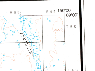 Reduced fragment of topographic map en--usgs--250k--075066--(1956)--N069-00_W153-00--N068-00_W150-00 in area of Chandler Lake, Shainin Lake, Little Chandler Lake; towns and cities Anaktuvuk Pass