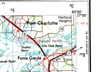 Reduced fragment of topographic map en--usgs--250k--076853--(1956)--N027-00_W084-00--N026-00_W082-00; towns and cities Port Charlotte, Englewood, Punta Gorda, Solana, Grove City